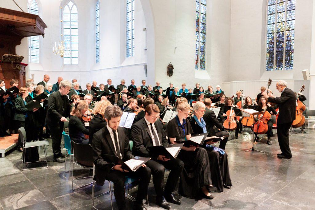 """Oprichter en dirigent Pieter Kramers bij het afscheidsproject """"Lux Æterna"""", Geertekerk Utrecht, 10 februari 2019"""